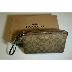 Coach  Signature PVC Large Double Zip Wristlet